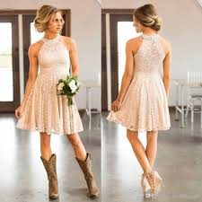 New Peach Dress For Wedding Guest Cheap Short Lace Country