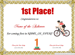 1st Place Free Certificate Templates For Kids Sport And Community