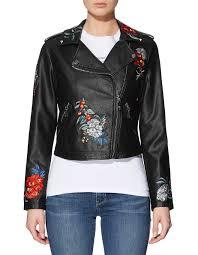 leather jackets women s leather jackets david jones ls embroidered moto jacket