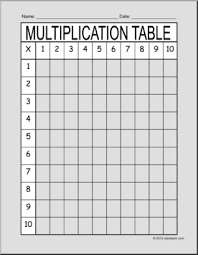 Times Table Chart Up To 10 Multiplication Times Table Chart 1 10 Blank Abcteach