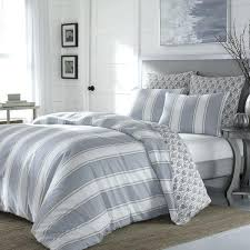 cottage bedding set stone grey stripe cotton sateen comforter country quilt sets