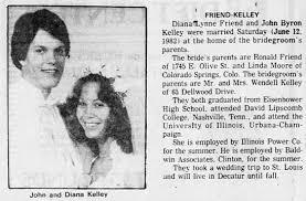 Diana Lynne Friend marriage to John Byron Kelley, Jun 12 1982, Decatur IL -  Newspapers.com