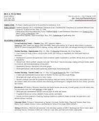 Objective For Teaching Resume nursery teacher resume micxikineme 73