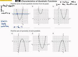 Characteristics Of Quadratic Functions Worksheet Worksheets for ...