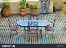 moroccan garden furniture. Beautiful And Cozy Moroccan Restaurant With Table Decorated Mosaics In Fes, Morocco Garden Furniture