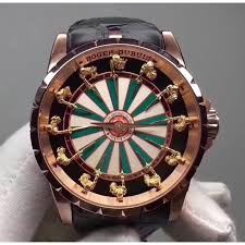 replica roger dubuis excalibur knights of the round table limited edition rddbex0398 n rose gold green white dial m6t15