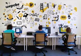 Office Wall Design Inspiration Mural For Tech Startup Wepoke In San Francisco Office