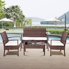 costway 4 pc rattan patio furniture set garden lawn sofa wicker cushioned seat brown 0