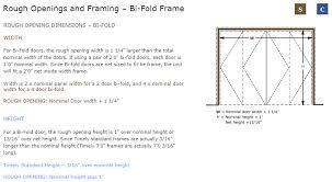 bi fold frame rough opening image