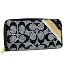 Coach Legacy Stripe In Signature Large Grey Wallets 51640