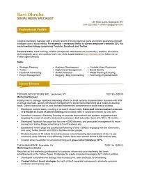 Media Resume Template Resume Template Social Media Specialist Resume