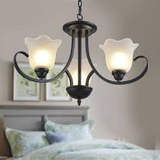 3 light black wrought iron chandelier with glass shades dk 8019 3