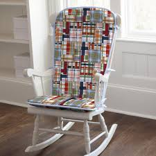 Patchwork Plaid Rocking Chair Pad Carousel Designs Navy Blue Rocking Chair Pads