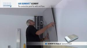 lux elements installation construction panel element for wall levelling over existing tile covering