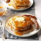 apple raisin pancakes with apple cider syrup