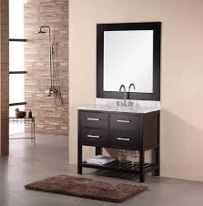 36 inch modern single sink bathroom vanity with carrera white marble