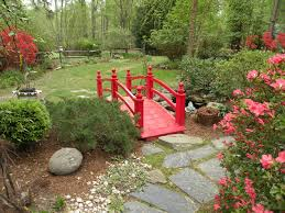 source debbie s oriental garden with striking red bridge