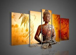 >2018 big size hand painted hi q wall art home decor oil painting on  2018 big size hand painted hi q wall art home decor oil painting on canvas religious sakyamuni buddha statue bamboo leaves orange framed from lyongqi
