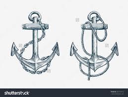 Vector Hand Drawn Nautical Anchor Vintage Sketch Element Ship