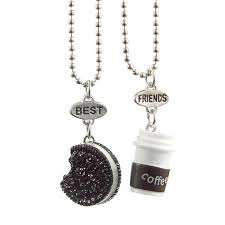 whole new fashion trendy coffee cup black cookie best friends pendant necklace rectangle pendant for best friends gifts pearl pendant necklace