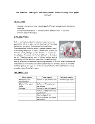 Lab Exercise Antiseptics And Disinfectants Evaluation
