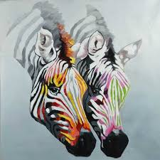 two zebras canvas art hand painted oil painting black grey multi colored