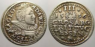 3 Gröscher 1596 Schlesien-Teschen Adam Wenzel 1579-1617. Selten. VF-EF |  MA-Shops