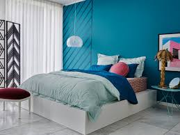 blue wall modern bedroom colour selection for house