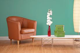 Blue And Brown Accent Chair Decoration Beautiful White Orchid In Lovely Red Glass Vase On A