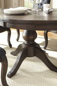 brown round dining table regarding trudell dark extendable pedestal from remodel 17