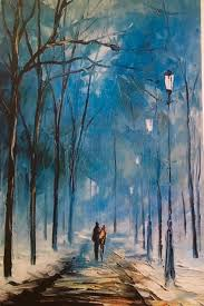 winter walk palette knife