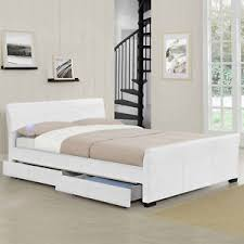 white faux leather bed. Brilliant Leather Image Is Loading FAUXLEATHERBEDHEADRESTWITH4DRAWERSBEDS Throughout White Faux Leather Bed L