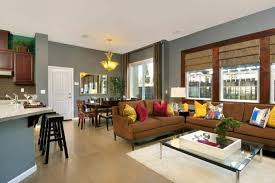 Grey walls brown furniture Dining Room Great Room With Brown Sofa And Grey Walls Wearefound Home Design Great Room With Brown Sofa And Grey Walls Decorating Ideas For
