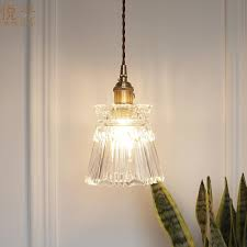 clear glass shade industrial pendant light brass material loft pendant lamp for bedside living room bathroom pendant lights modern hanging light