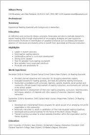 Best Solutions Of Professional Reading Specialist Templates To