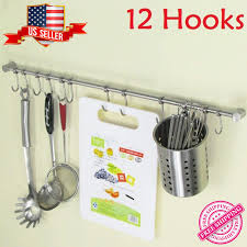 details about 12 hooks kitchen wall mounted cupboard bathroom utensil hanging rack holder