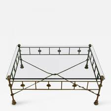 Iron And Glass Coffee Table Diego Giacometti Giacometti Style Patinated Hand Wrought Iron