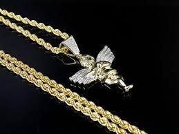 10k yellow gold real diamond angel cherub pendant charm 25ct 1 5 chain set 2mm