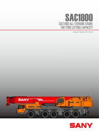 Sany Sac1800 180 Tons All Tarrain Truck Crane Sany Pdf