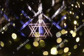 Christmas Lights Star Of David Star David Seen Through Christmas Tree Front Editorial Stock