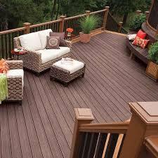 deck trex composite trex transcend dark wooden decking flooring brown wicker sofa set red side