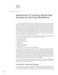 Chapter 6 - Assessment Of Industry Needs/gap Analysis For Railroad ...