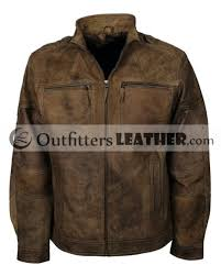 causal wear buff brown mens distressed leather motorcycle jacket
