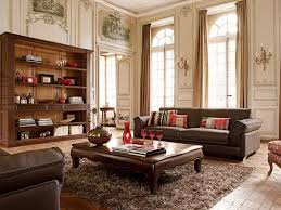 living room antique furniture. Rustic Living Room Design With High Ceiling, Vintage Furniture, Dark Brown  Leather Sofa Sets, Oak Table, Rugs, And Old Display Cabinet Furniture Without Living Room Antique Furniture