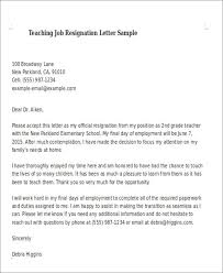 Sample Teaching Resignation Letter 6 Examples In Pdf