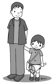 お父さんと子供モノクロ 子供と動物のイラスト屋さん わたなべふみ