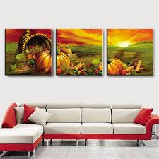 Modern Art Paintings For Living Room 3 Panel Large Modern Printed Sunset Fruit Oil Painting Picture