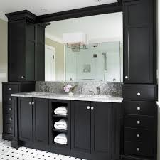 white bathroom cabinets gray walls. black bathroom cabinets with white and grey counter top floor tiles gray walls