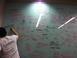 frosted glass dry erase board idea