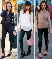 sydne style how to wear leather leggings faux leather pants trend express minus the leather blogger style outfit ideas fall winter main